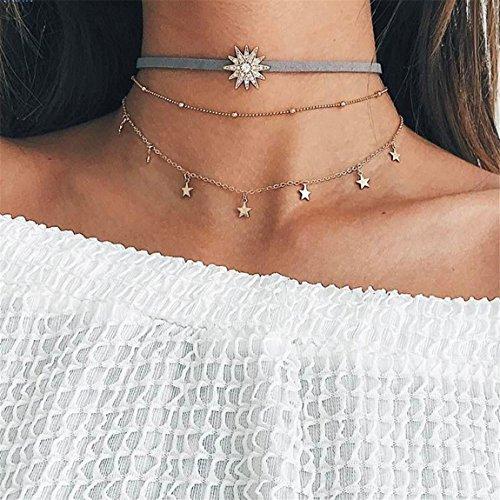CH Gold Vintage Retro Star Sun Choker Necklace Women Girl Lady Long Chain Pendant (Vintage Choker)