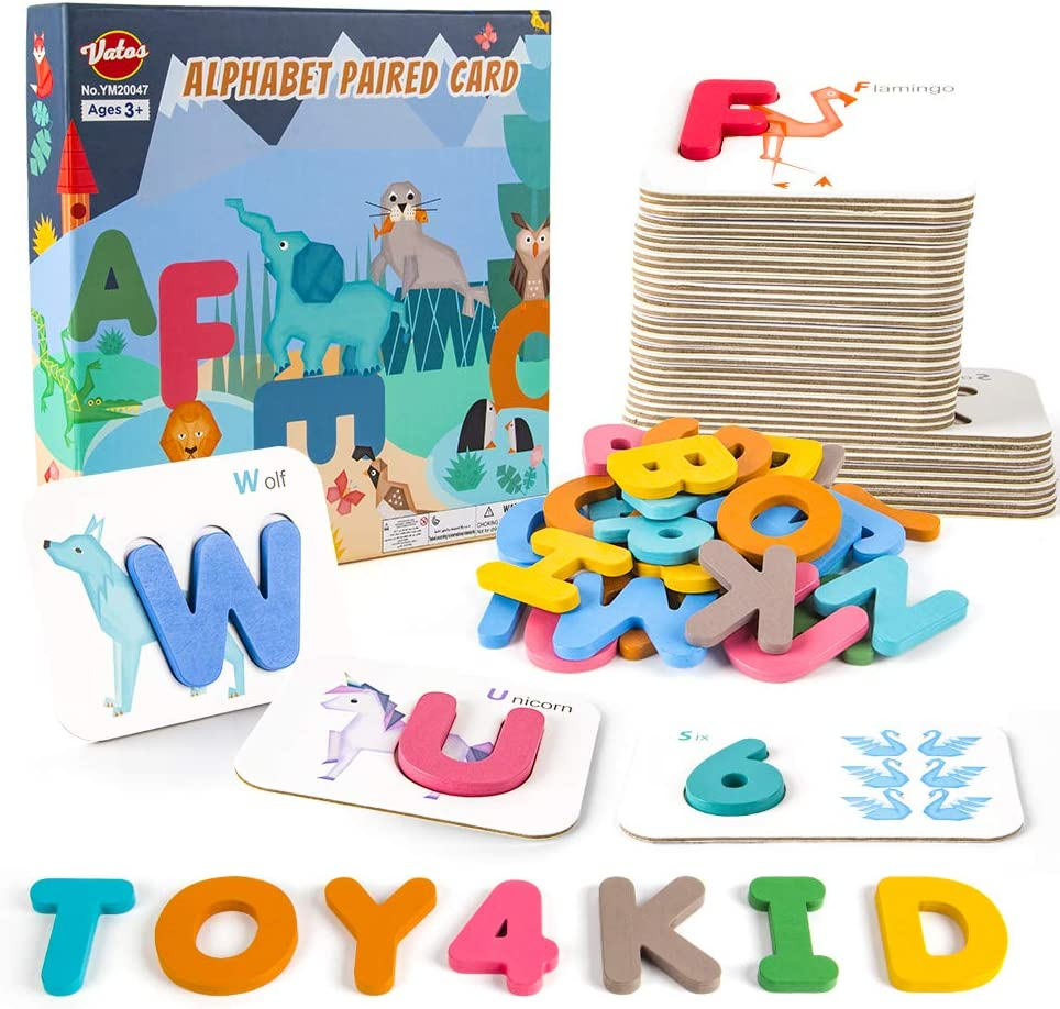 VATOS Number and Alphabet Flash Cards for Toddlers ABC Wooden Letters and Numbers Flashcards Set Preschool Activities Matching Puzzle Game Educational Montessori Toys for Kids Age 2 3 4 5 Years Old