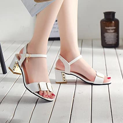 35768d5364a Ladies Office Wedges Shoes Mid Heel Sandals Size 9 Wedding Shoes Hemlock  (US:8.5, White)