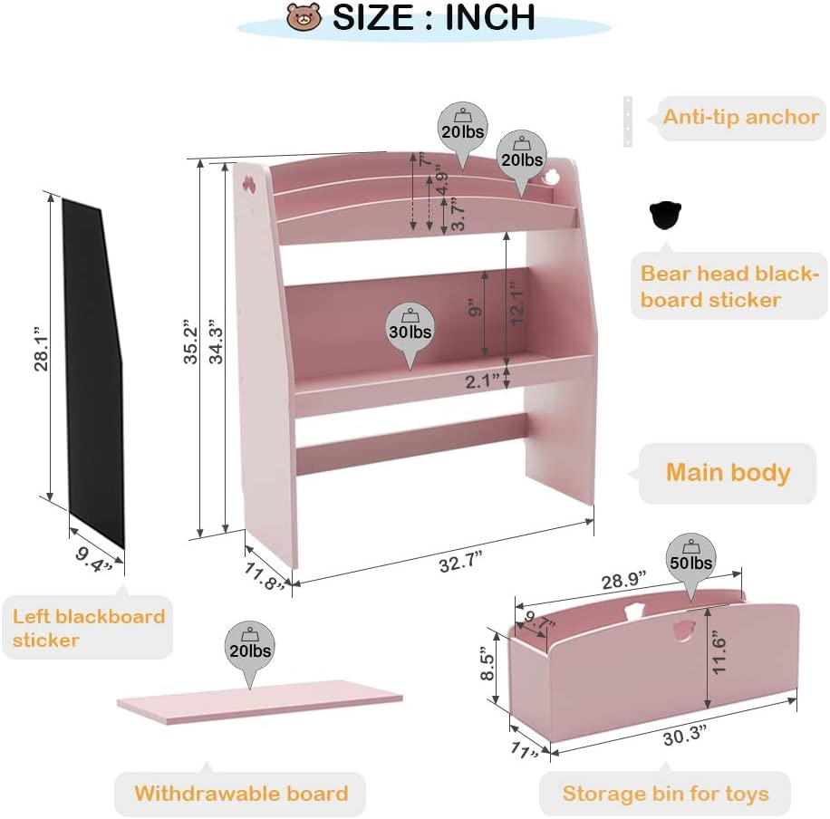 P2 MDF Pink Bestier Kids Bookshelf Toy and Book Storage Organizer Multi-Purpose Wood Toy Shelf in Kids Bedroom Childrens Bookshelf Toy Box Chest Furniture with Rolling Box and Safety Anchor