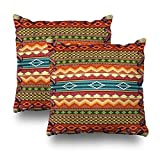 Geericy Decorative Throw Pillow Covers Western Southwest Collin Tribal Print Outdoor Cushion Cover 18X18 Inch for Bedroom Sofa,Set of 2