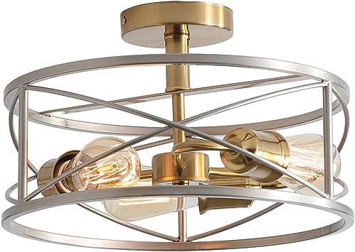 Round Cage Ceiling Light Chrome Kitchen Light Flush Mount Nautical Semi Flush Gold Ceiling Light Fixture Edison Bulb Mid Century Dome Light Fixture For Dining Brushed Nickel Light Fixture For Bedroom