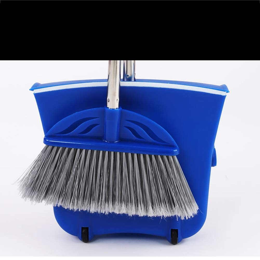 New Dustpan with Self-Closing Lid and Broom,Long Handled Dustpan and Brush Set, Strong Stainless Steel Metal Handles,Blue BERID