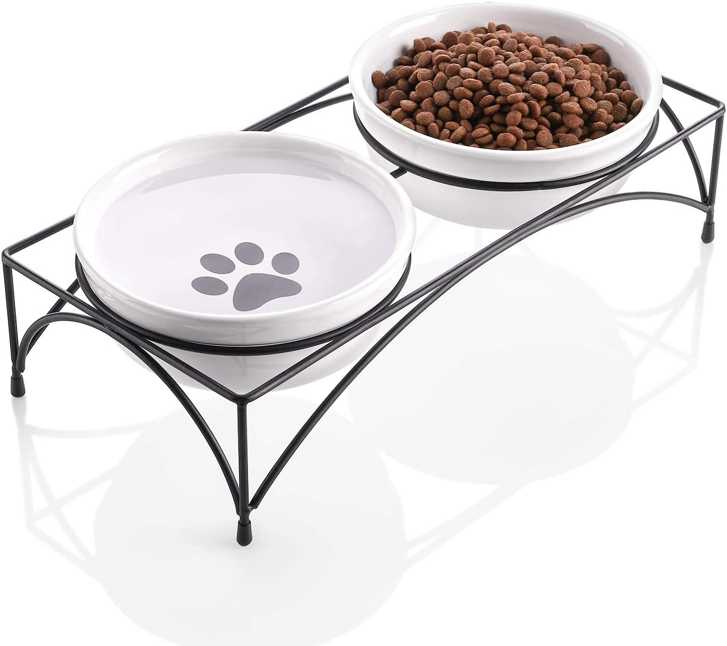Y YHY Cat Food Bowls, Elevated Cat Bowls with Stand, Protect Cat's Spine, Raised Cat Bowls for Food and Water, Ceramic Pet Feeding Bowls, Whisker Fatigue, 12 Ounces, Dishwasher Safe