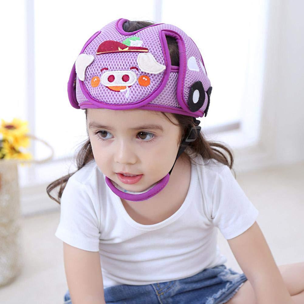 Bebé Anti-Colisión Casco de seguridad ajustable Niños Headguard infantil arneses de protección Cap Head Protector/Púrpura TODAYTOP