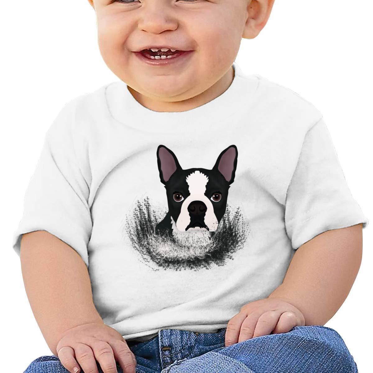 Qiop Nee Puppy Boston Terrier Dog Short Sleeve Tshirts Baby Boy