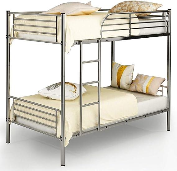 BADA Shop - Litera de metal separada para cama individual o doble, escalera para niños, adolescentes, adultos, niños, dormitorio moderno, con listones de acero resistentes, ahorra espacio, para niños y niñas, camas