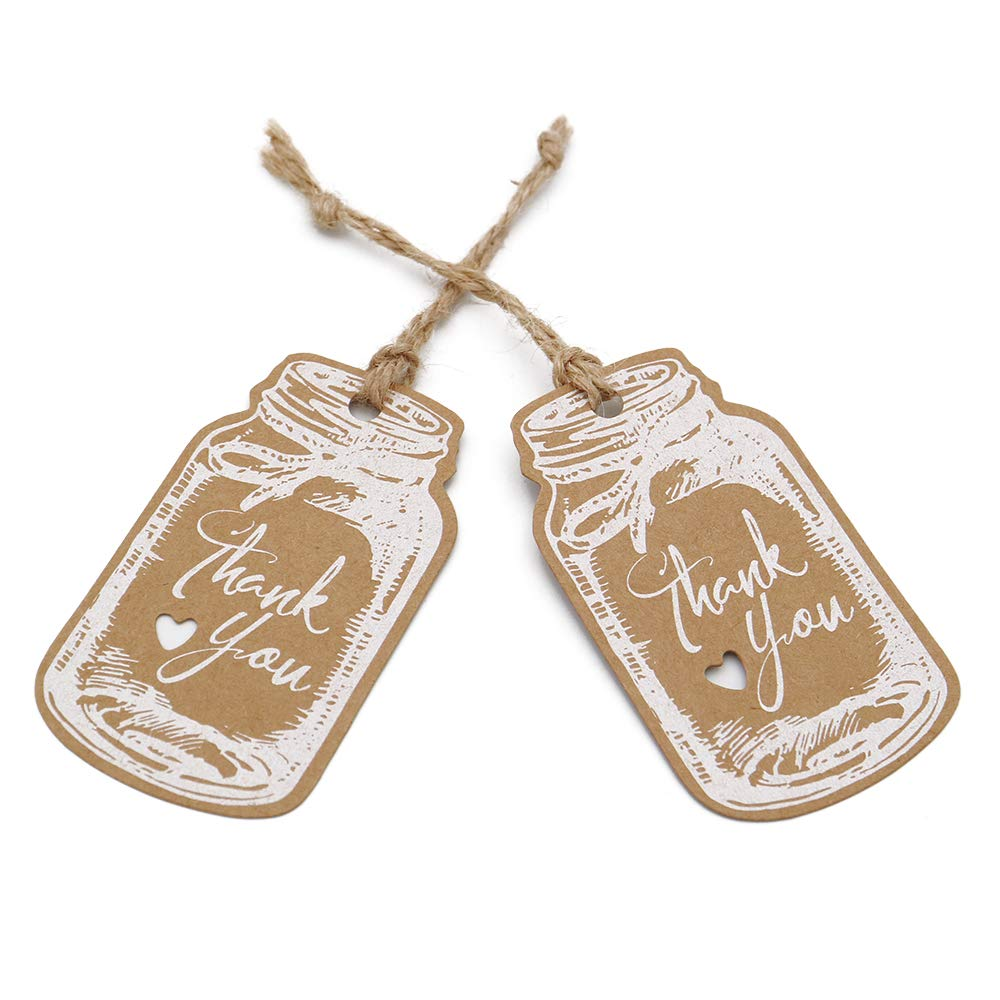 Thank You Tags,Mason Jar Tags,100PCS Kraft Paper Gift Tags with 100 Feet Jute Twine,3x1.8Vintage Style White Tags for DIY Craft Party Favors