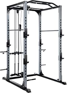 Vanswe Power Rack 1300-Pound Capacity Olympic Power Cage Home Gym Equipment Squat Cage with LAT Pull Attachment, J-Hooks and Other Optional Attachments
