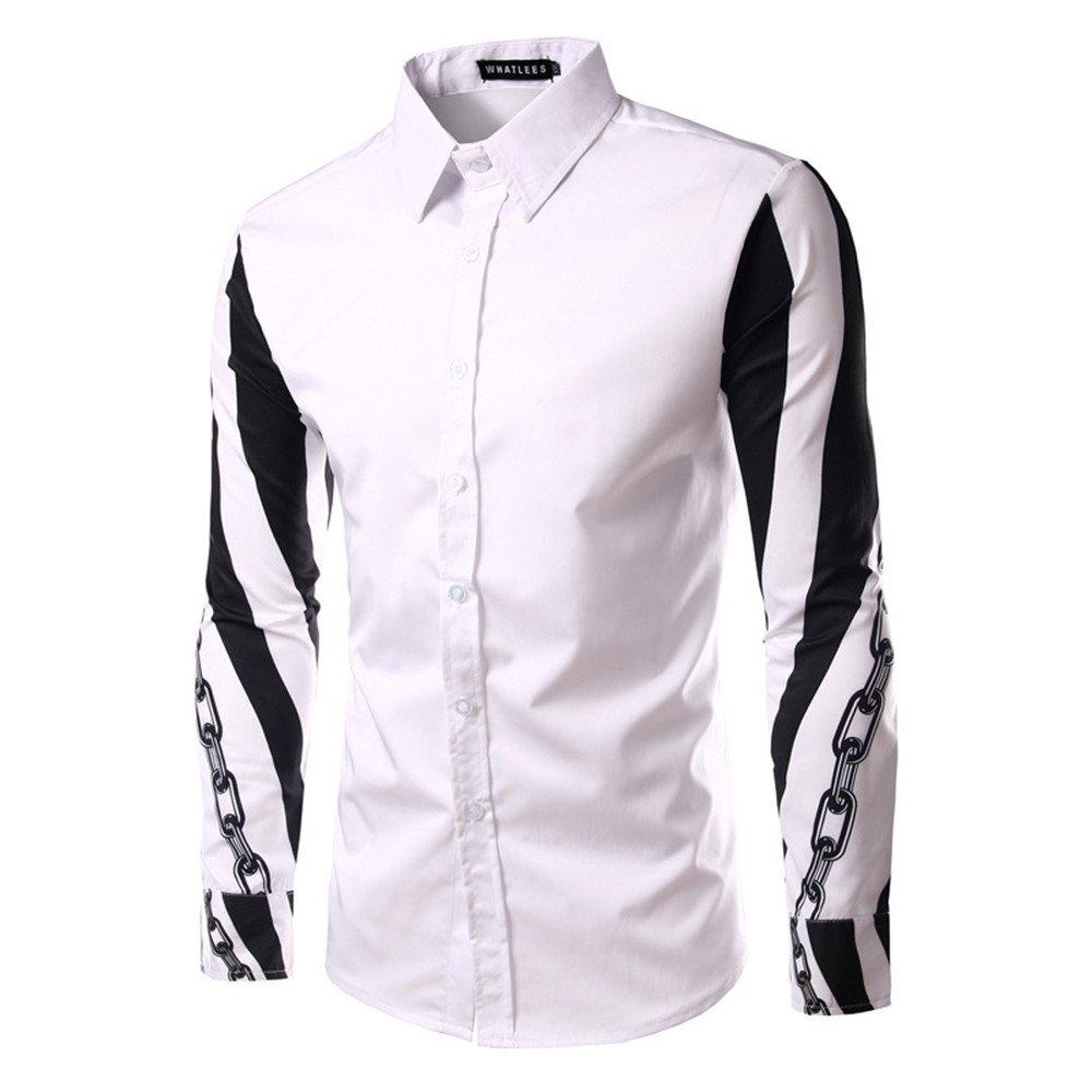 Lixus Mode langärmelige Shirt Langarm - Shirt Reparatur - männer - Design,weiße,l