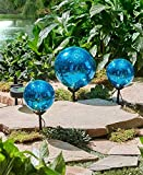 Set of 3 Solar Gazing Ball Stakes Blue