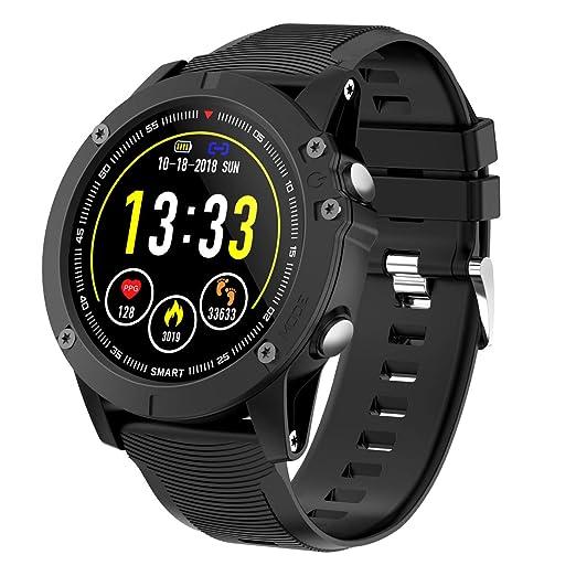 HolyHigh Montre Connectée Bluetooth Smartwatch Montre Sport Podomètre Etanche IP68 avec Cardiofréquencemètre Tensiomètre Oxymètre pour Samsung Sony Huawei ...