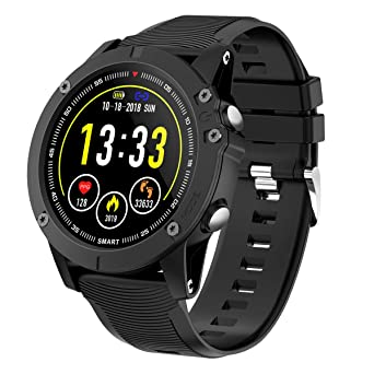 HolyHigh Montre Connectée Bluetooth Smartwatch Montre Sport Podomètre Etanche IP68 avec Cardiofréquencemètre Tensiomètre Oxymètre pour iOS