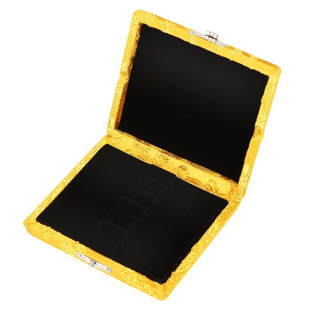 Reed Storage Case, Silk Cloth Cover Reeds Protector Holder Box for 6pcs Oboe Reeds(Yellow)
