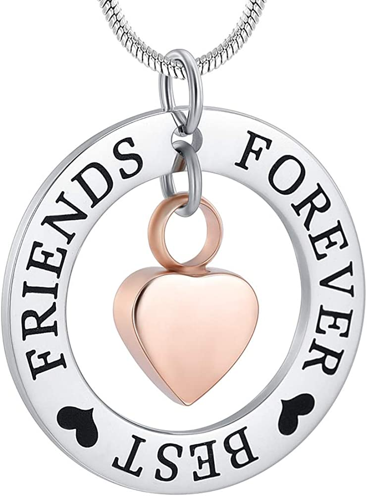 zeqingjw Cremation Jewelry for Ashes Stainless Steel Heart with Circle Memorial Urn Necklace Engraved ''Forever Best Friend'' Keepsake Ashes Jewelry