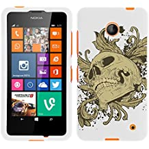 MINITURTLE, Slim Fit Graphic Design Image 2 Piece Snap On Protector Hard Phone Case Cover, Stylus Pen, and Clear Screen Protector Film for Prepaid Windows Smartphone Nokia Lumia 635 from /AT&T, /T Mobile, /MetroPCS (Skull and Leaves)