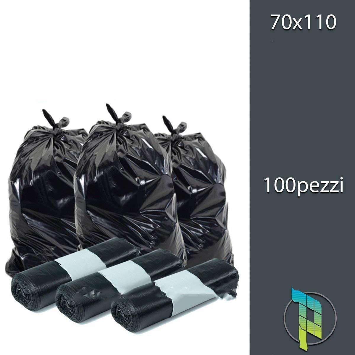 Palucart Sacchi spazzatura colore nero cm 70x110 110 litri 100 pezzi neri