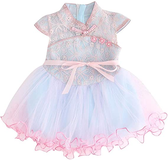 Breathable Kids Floral Print Dress Baby Girl Cheongsam Princess Lace Dress