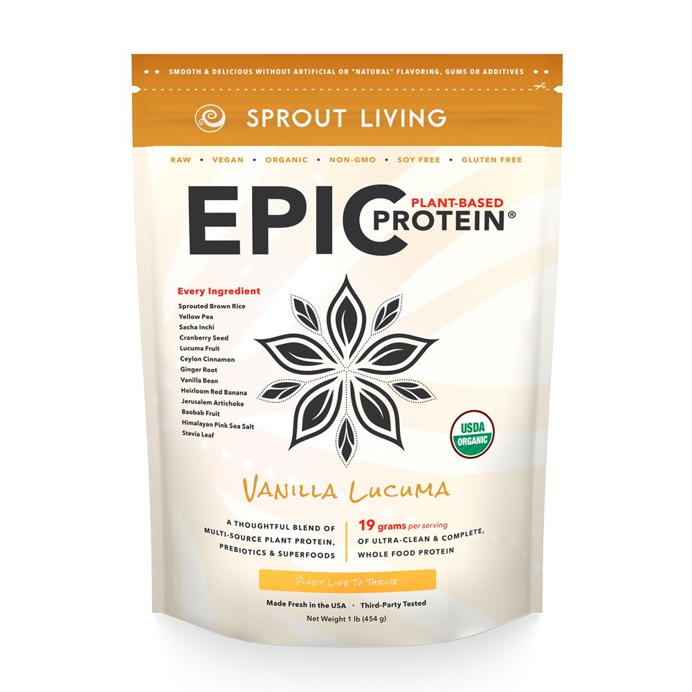 Sprout Living Epic Protein Powder, Vanilla Lucuma Flavor, Organic Plant Protein, Gluten Free, No Additives, 19 Grams Clean Vegan Protein (1 pound,14 servings)