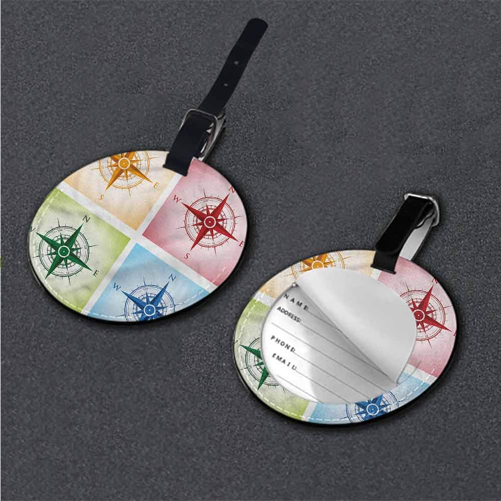 Name Labels Compass,Blue Windrose Anchor Address Tags