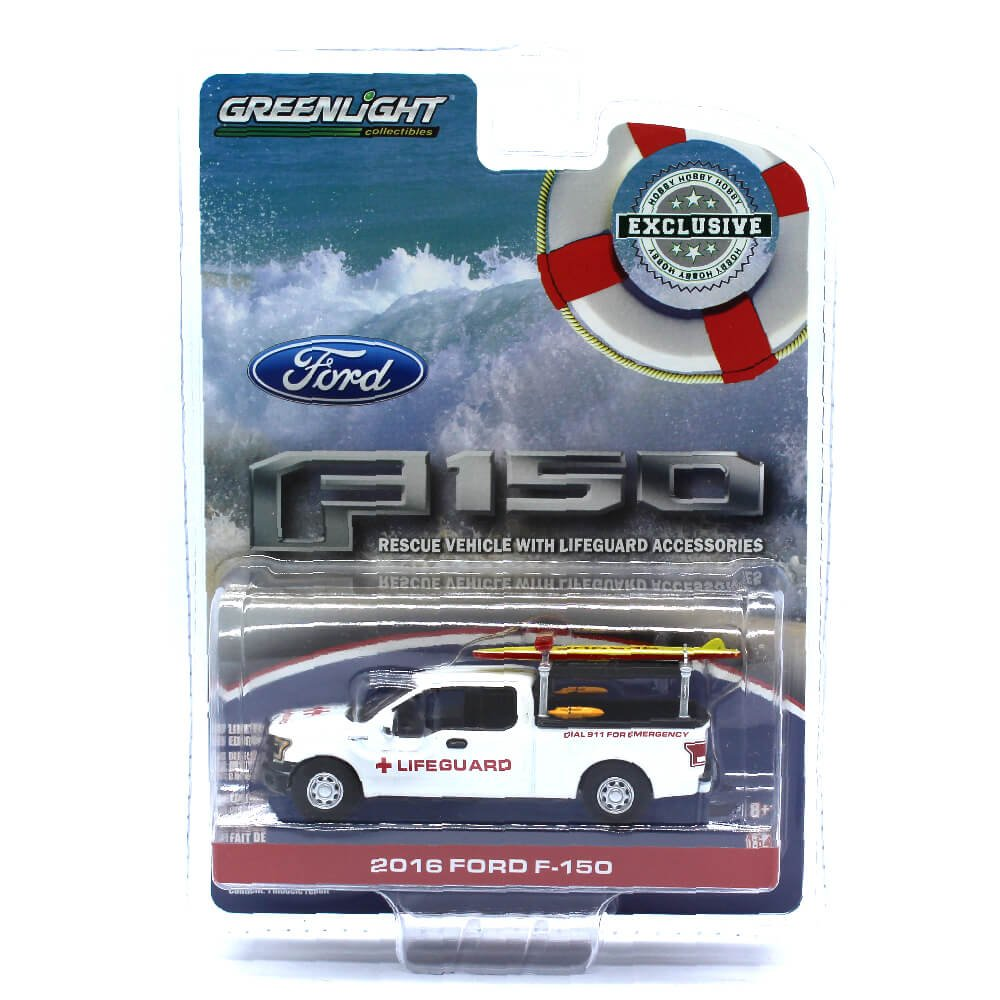 Greenlight 29899 2016 Ford F 150 With Lifeguard 1969 250 Flatbed Accessories Hobby Exclusive 1 64 Diecast Model Car Toys Games