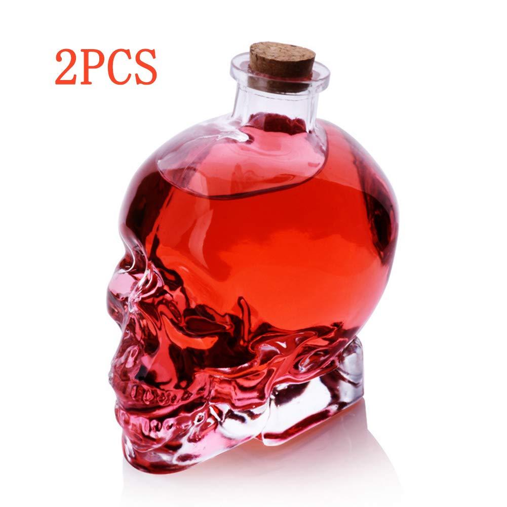 Scotch et Vodka Puruitai Lot de 2 flacons vides en Verre avec t/ête de Mort pour Whisky