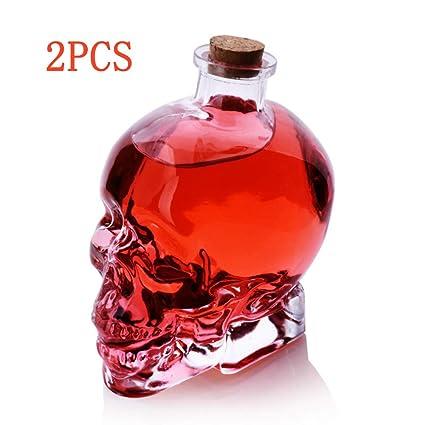 Puruitai 2 Botellas de Cristal vacías con diseño de Calavera ...