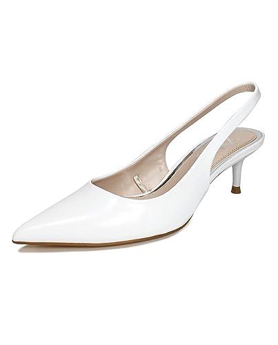 ffc52df71ea3f Amazon.com: Zara Women Slingback Kitten-Heel Shoes 2233/001: Shoes