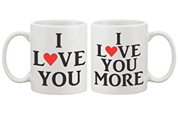 i love you matching coffee mugs perfect wedding engagement anniversary and valentines