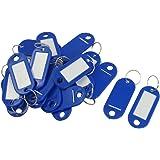 SODIAL(R) 20 Pcs Key ID Label Tags Split Ring Keyring Keychain Blue