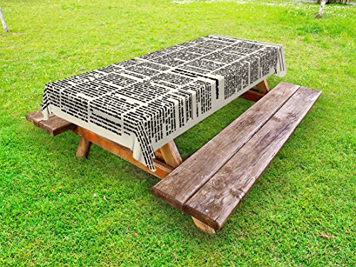 Lunarable Old Newspaper Outdoor Tablecloth, Newspaper Page Article Column Unreadable Text Headings Journal Image Art, Decorative Washable Picnic Table Cloth, 58 X 84 Inches, Black Cream by Lunarable