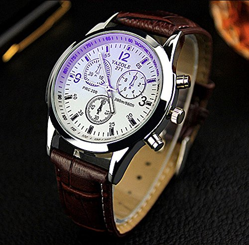Fashion Men's Date Leather Stainless Steel Military Sport Quartz Wrist Watch new, 100% brand new and high quality, As the Picture - Gucci Brown Polo