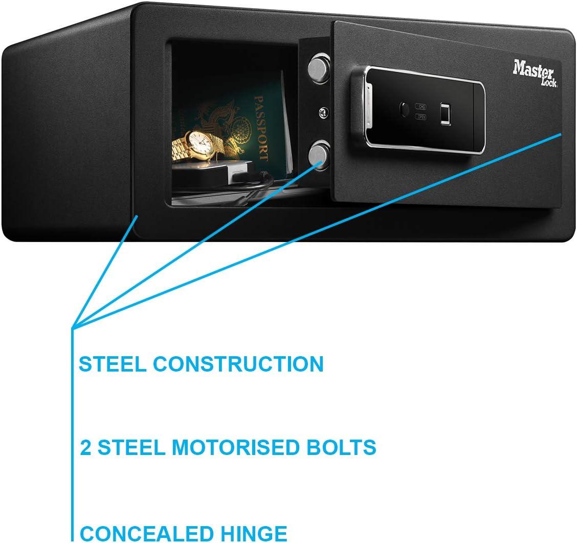 Black Master Lock LX110BEURHRO Biometric Security Safe for Valuables 19,5 x 43 x 37 cm