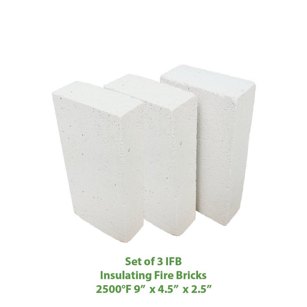 Insulating FireBrick 9x4.5x2.5 IFB 2500F Set of 3 Fire Brick