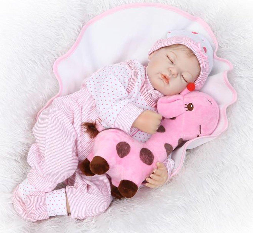 リアルな赤ちゃん人形新生児女の子、シリコンReborn Babies Sleeping that looks real、重量ボディ、マグネット口   B07BL3QZY3