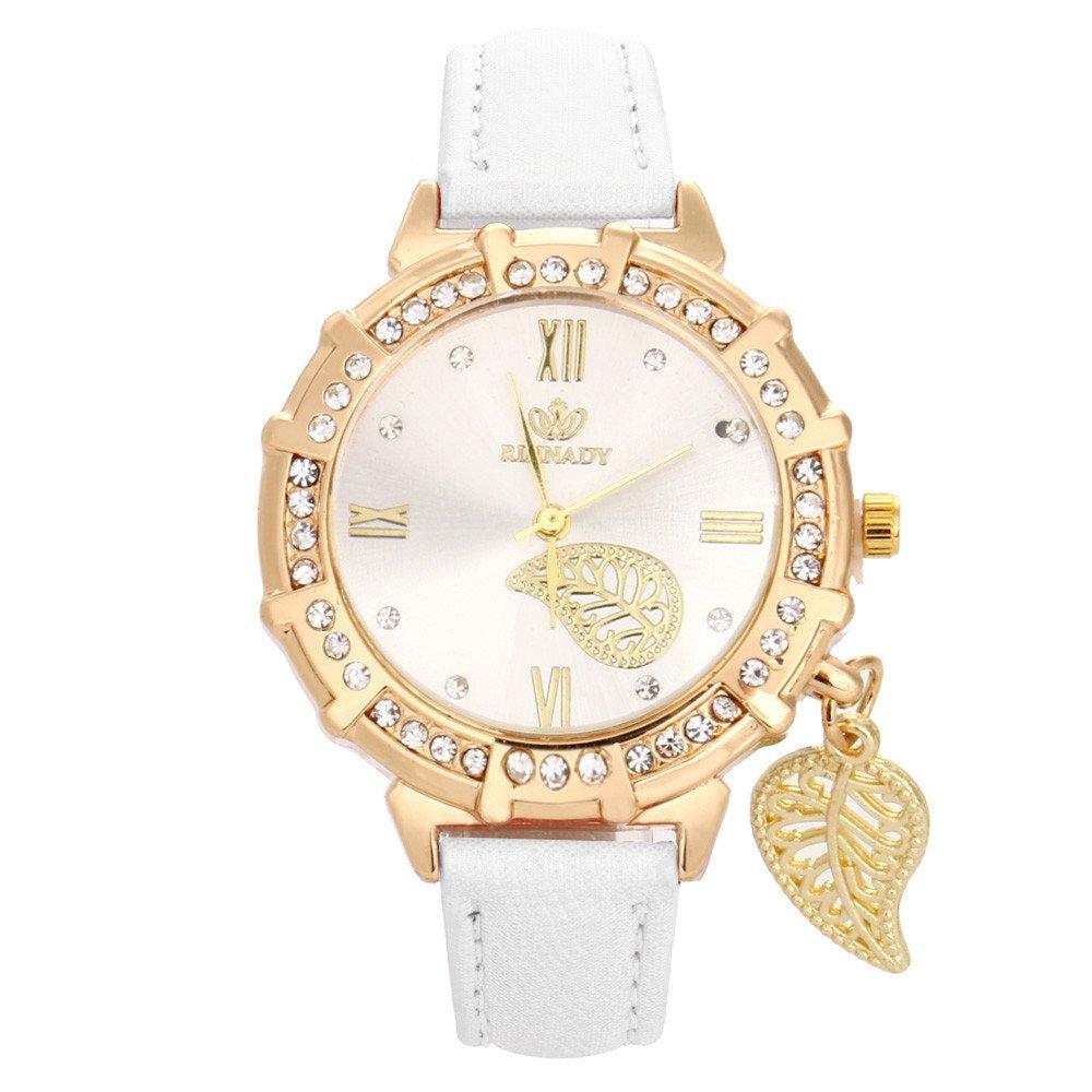 Analog Quartz Wrist Watch, Women Quartz Wrist Leaves Tower Rhinestone Pendant Wrist Watch,Pocket Watches,White,Women Watches