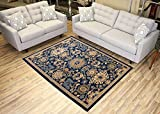"Navy Blue Area Rug 4'9″ x 6'10"" Mahal Persian Design Traditional Oriental Area Rugs Modela Collection For Sale"