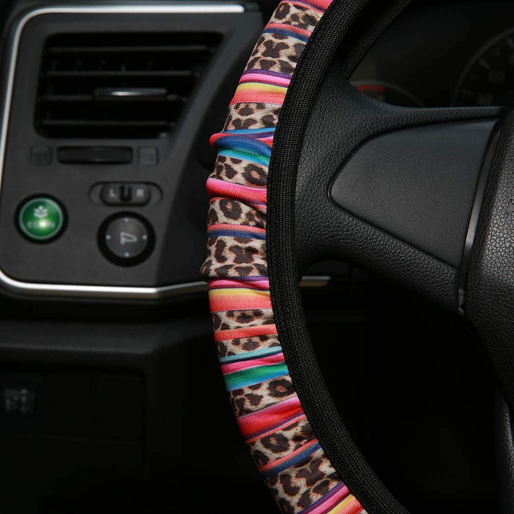 AJLTPA Car Steering Wheel Cover Neoprene Automotive Steering Wheel Cover Anti Slip and Sweat Absorption Auto Car Wrap Cover Sunflower Cactus Leopard Pattern