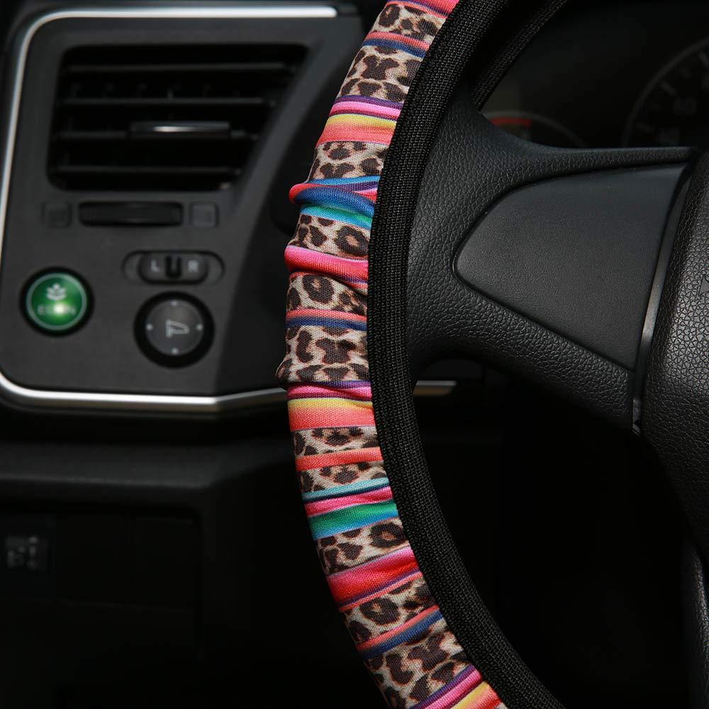 AJLTPA Steering Wheel Cover Neoprene Automotive Steering Wheel Cover Anti Slip and Sweat Absorption Auto Car Wrap Cover Sunflower Cactus Leopard Pattern