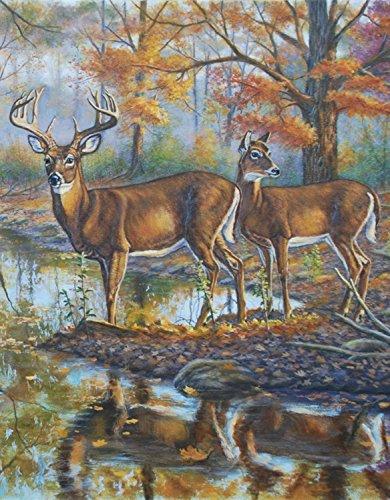 Brookside Retreat Deer Garden Flag Fall Autumn Buck Doe Forest 12.5