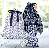 Reusable Fabric Gift Bags Large Black and White (set of 3) Wrap Presents in Seconds!