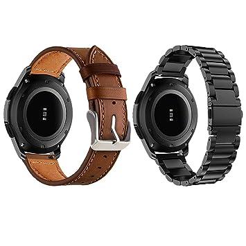 Yayuu Gear S3 Frontier/Classic Correa de Reloj Samsung Galaxy Watch 46mm Banda Pulseras de Repuesto, 22mm Acero Inoxidable Metal Correas Pulsera para ...