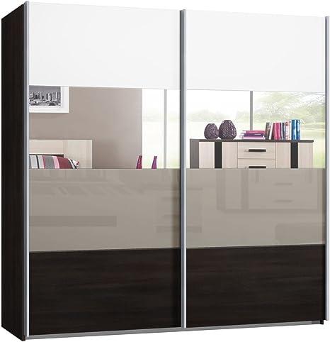 Armario de puertas correderas, puerta corredera, B/H/T: aprox 225/220/69 cm, puertas espejo, cristal y decoración, armario: Amazon.es: Hogar