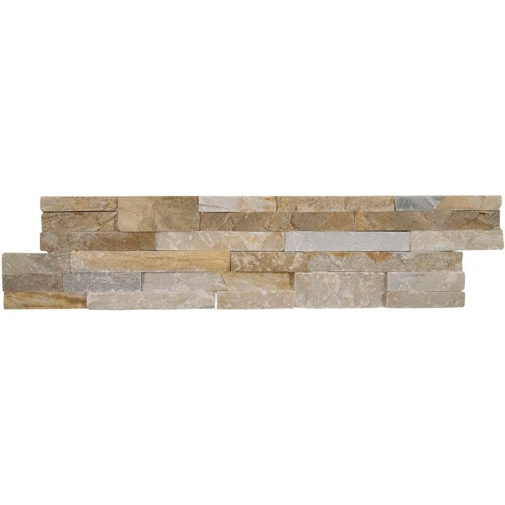 Vogue Peel & Stick Golden Honey Quartzite Stacked Stone 21.75'' X 6'', Wall Tile, Fireplace Tile, Backsplash Tile, Bathroom Tile, Easy DIY Tile (Box of 15pcs ) by Vogue Tile