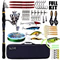 Sougayilang Fishing Rod and Reel Combos, Telescopic Fishing Pole with Fishing Reel Box Line Lures Hooks Accessories Fishing Carrier Bag by Sougayilang
