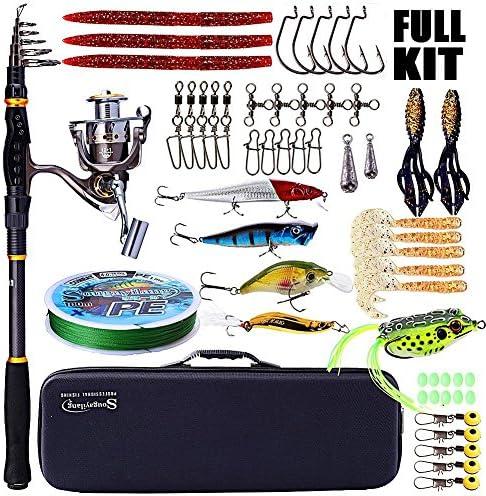 SougayilangCa ntilde;a de pescar y carrete combos ca ntilde;a de pescar telescópica portátil con kit de carrete de pesca giratorio para viajes pesca de agua salada y agua dulce