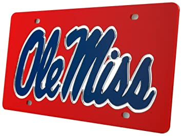 Mississippi Ole Miss Rebels License Plate Red