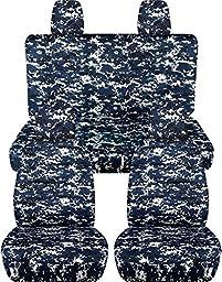 2011-2017 Jeep Wrangler JK Camo Seat Covers: Blue Digital Camouflage - Full Set: Front & Rear (19 Prints) 2012 2013 2014 2015 2016 2-Door/4-Door Complete Back Solid/Split Bench