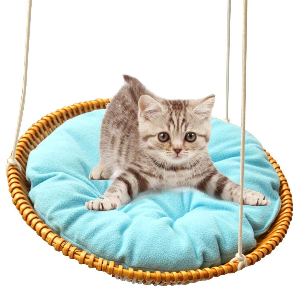 Hammock - Sleeping Nest for Cats - Wicker Swinging Bed with Hemp Rope ,Safe Comfortable Oval Cat Hammock Hanging Bed Breathable Cages by Yunt-11 (Image #1)