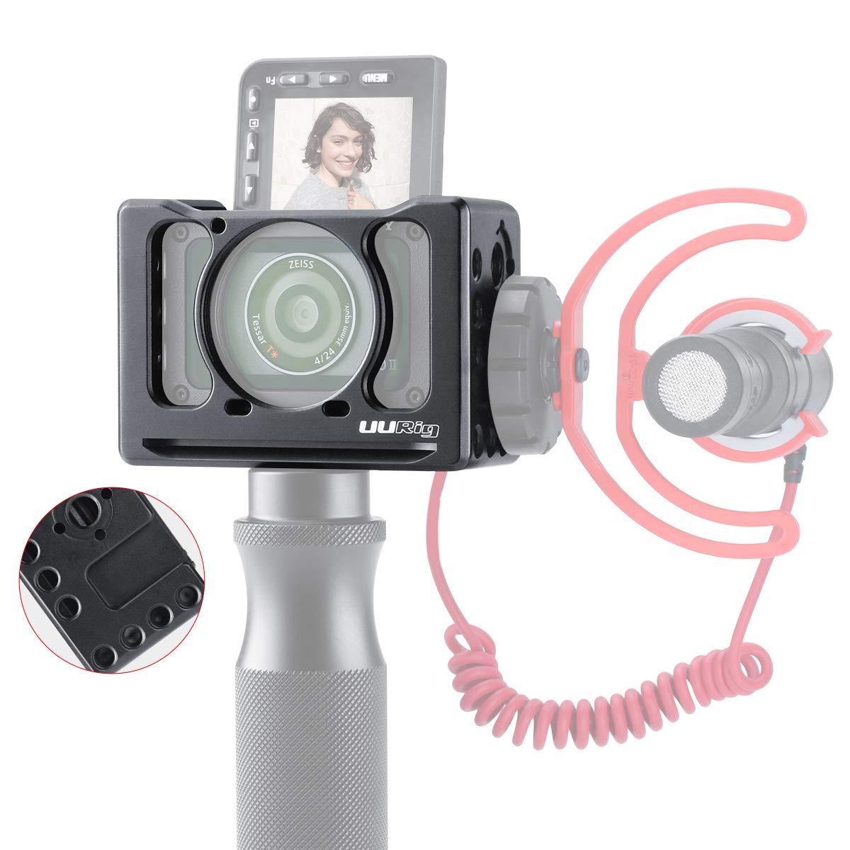 RX0 avec Griffe Froide pour Fixer Le Microphone Selfie Vlog Accessoires vid/éo Adaptateur dobjectif de 37MM Arri Hole Fixation Rapide Cage dextension en m/étal UURig C-RX0 II pour Sony RX0 II